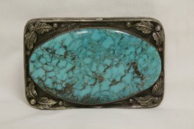 Silver And Turquoise Belt Buckle Signed Annie Eagle