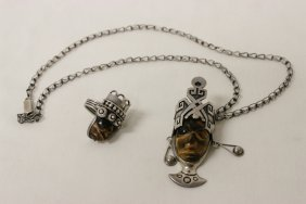 Sterling Tiger Eye Ring, And Pendant With Necklace