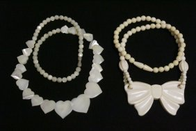 Ivory Necklace, And A Shell Bead Necklace