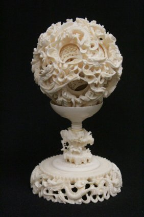 Large Chinese Ivory Multi-layer Ball With Ivory Stand