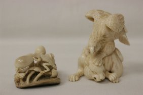 2 Japanese Antique Ivory Carved Netsuke