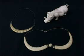 3 Ivory Carvings; A Boar, And 2 Necklaces