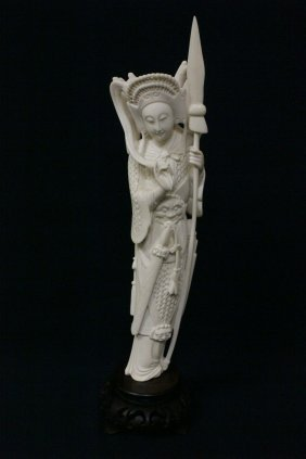 Chinese Ivory Carved Warrior