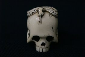 Japanese Ivory Carved Netsuke In Skull Motif