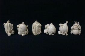 6 Ivory Snuff Bottles By Chinese Carving Master