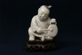 Antique Chinese Ivory Carved Boy With Drum