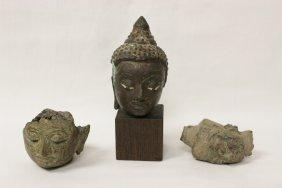 Three 16th/17th C. Thai Bronze Heads