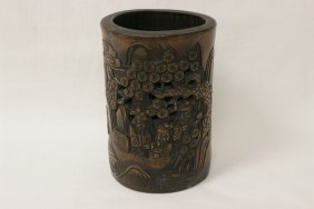 Chinese Antique Bamboo Carved Brush Holder