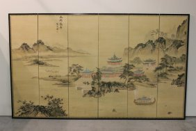 Chinese Antique 6-panel Room Divider, Signed