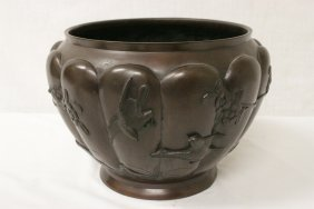Large Japanese 19th C. Bronze Planter, Signed