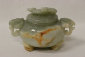 Chinese Celadon Jade Carved Covered Censer