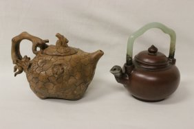 2 Chinese Yixing Teapot, One With Jade Handle