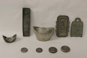 Lot Of Chinese Silver Like And Bronze Items