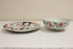 Antique Japanese Imari Plate And A Chinese Bowl