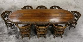 Important Solid Nadun Wood Dining Room Set