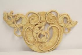 Large Jade Like Stone Carved Disc With Qilin