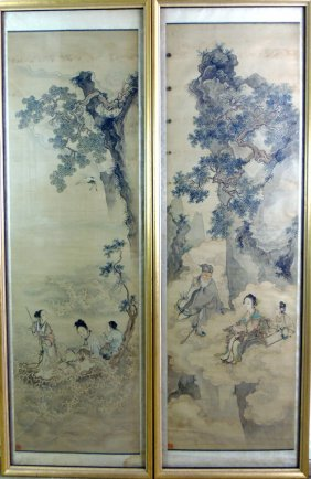Two Chinese Scrolls, Qing Dynasty (1644-1911)  Ink