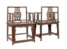 A Fine And Pair Of Chinese Huanghuali Armchairs In