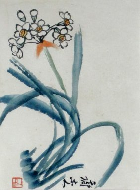 CHINESE SCHOOL,  20TH CENTURY  Flowering Orchid  Waterc