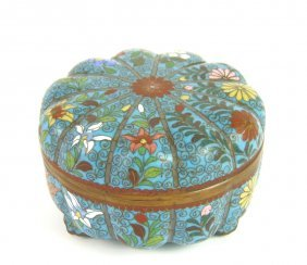 A Cloisonn� Blue Ground Chrysanthemum Bowl And Cover, 1