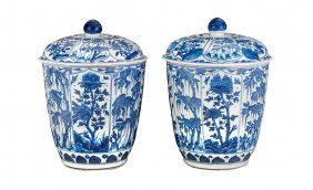 A Pair Of Impressive Blue And White Decorated Covered J