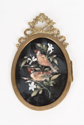 An Italian Pietra Dura Panel Of A Bird In Gilt Frame,