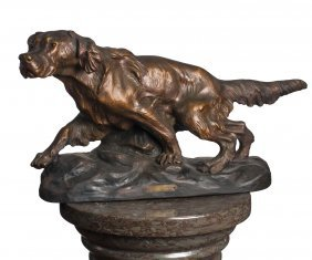 €œ Pagneul€ (spaniel), A Terracotta Figure Of A