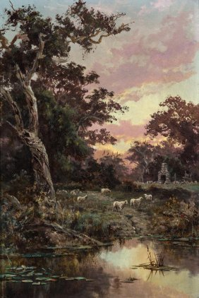 James Waltham Curtis Sheep By A Quiet Creek