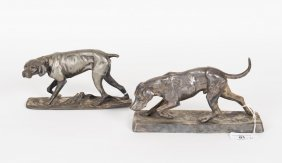Two Silvered Figures Of Hounds