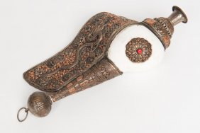 A Tibetan Bronzed And Silvered Metal Mounted Shell Horn