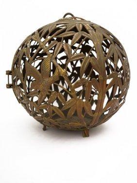 A Japanese Bronze €œbamboo€ Spherical Bird Cage,