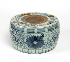 A Chinese Blue And White Earhernware Brush And Ink