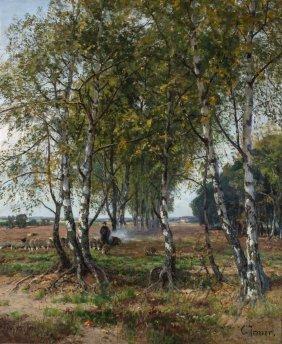 Carl Irmer (1834-1900) Shepherd And Flock Amongst
