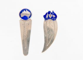 Two Australian Silver And Enamel Book Marks