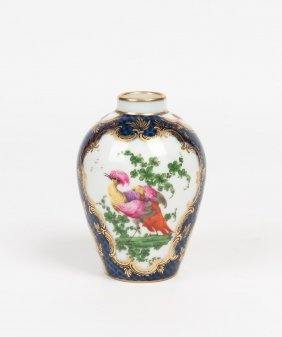 A Worcester Blue Scale Ground Tea Caddy Painted With