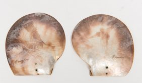 A Pair Of Victorian Shells Carved With Fishermen,