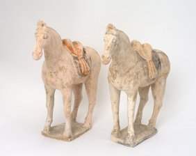 A Like Pair Of Chinese Earthenware Painted Horses, Tang