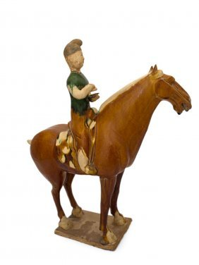 A sancai-glazed Pottery Figure Of A Horse And rider,