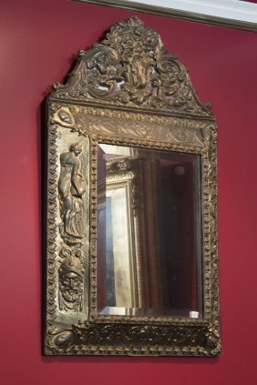 A 17th Century Pressed Metal Wall Mirror