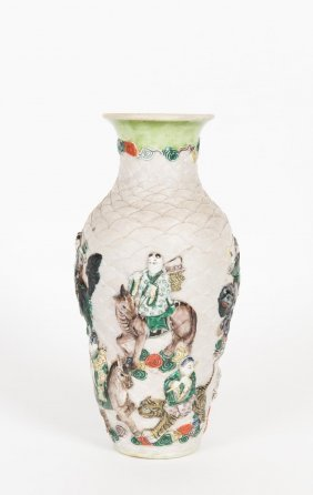 A Chinese Pottery Vase, Decorated With Deities On The