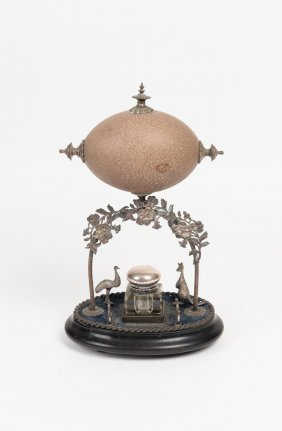 An Australian Silver Plated Mounted Emu Egg Ink Stand,