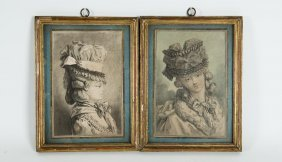 A Pair Of French Engravings 1785 Tete De Feme