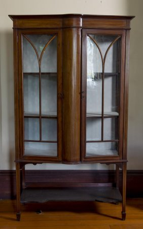A Late Victorian Mahogany Bow Fronted Display Case