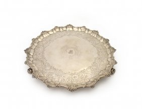 A George Iii Sterling Silver Shaped Circular Salver By