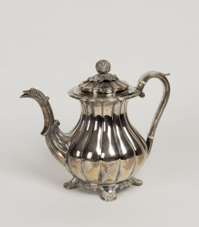 An Antique Sheffield Plate Fluted Coffee Pot With