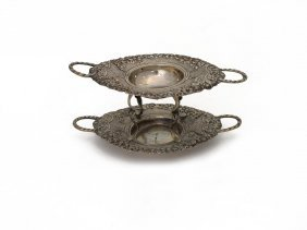 A German Silver Tea Strainer And Stand, 19th Century