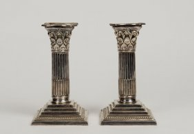 A Victorian Silver Plated Pair Of Column Candlesticks