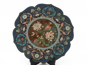 A Chinese Cloisonn Plate