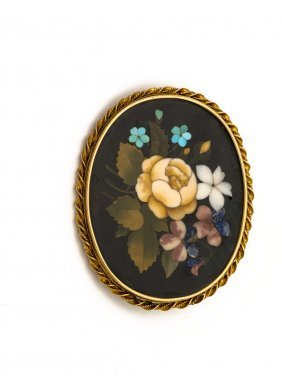 A Victorian Pietra Dura Brooch Of Coloured Flowers,
