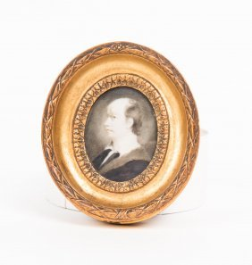 A Georgian Miniature On Ivory Of A Man In An Ermine